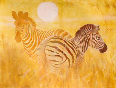 painting by paul bosman of pair of cheetas